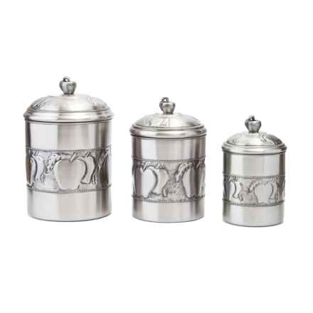 Old Dutch International Embossed Apple Canister Set - 3-Piece in Stainless Steel - Closeouts