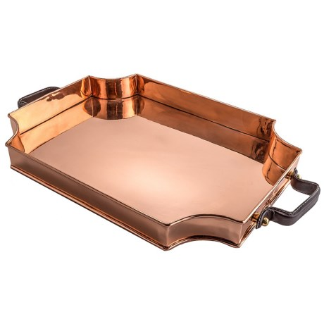 Old Dutch International Royale Solid Copper Rectangular Tray with Leather Handles in Copper