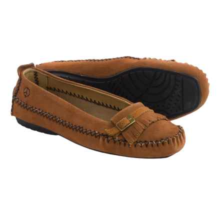 Old Friend Peace Mocs by  Emily Moccasins - Suede (For Women) in Tan - Closeouts
