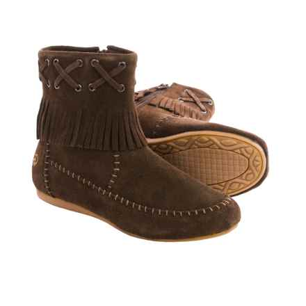 Old Friend Peace Mocs by  Madison Mid Moccasins - Suede (For Women) in Chocolate - Closeouts