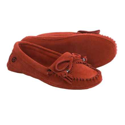 Old Friend Peace Mocs by  Megan Moccasins - Suede (For Women) in Poppy - Closeouts