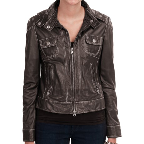 Old Gringo Hooded Lambskin Leather Jacket - Tailored Fit (For Women) in Black