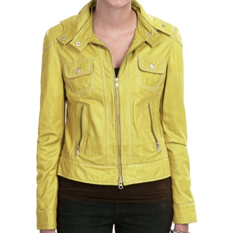 Old Gringo Hooded Lambskin Leather Jacket - Tailored Fit (For Women) in Yellow