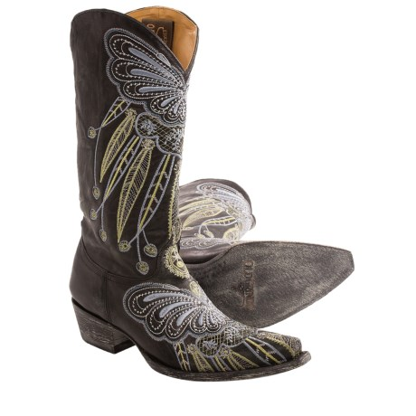 Old Gringo Lakota Butterfly Cowboy Boots - Leather, Snip Toe (For Women) in Black