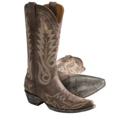 "Old Gringo Nevada Cowboy Boots - Crackled Leather, 4Long Snip Toe, 13"" (For Women) in Light Brown"