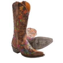 """Old Gringo Sozey Cowboy Boots - 13"""", Snip Toe (For Women) in Brown/Multi Color Floral - Closeouts"""