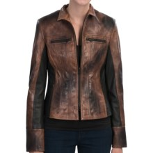 Old Gringo Two-Tone Leather Jacket - Zip Front (For Women) in Black/Orange - Closeouts