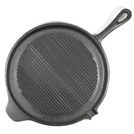 """Old Mountain Cast Iron Round Grill Pan - 11"""" in Black"""
