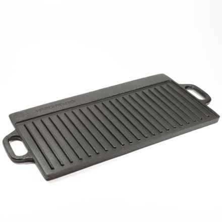 "Old Mountain Cast Iron Two-Burner Reversible Grill/Griddle - 20"" in Black - Overstock"