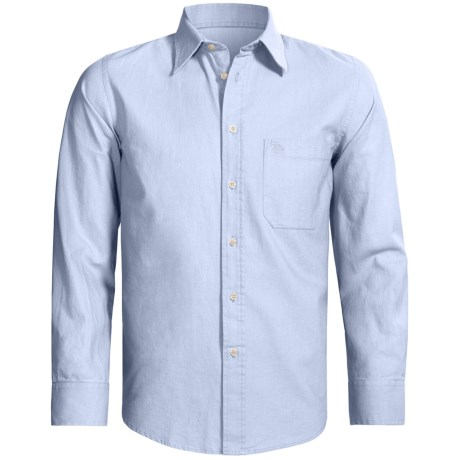 Old Taylor Sport Shirt - Cotton-Linen, Point Collar, Long Sleeve (For Men) in Lt Blue
