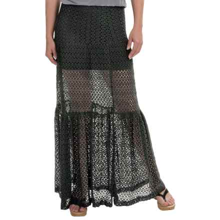 Olivaceous Crochet Maxi Skirt (For Women) in Black - Overstock