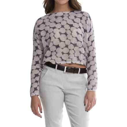 Olivaceous Jacquard Print Crop Sweater (For Women) in Beige/Blue - Closeouts