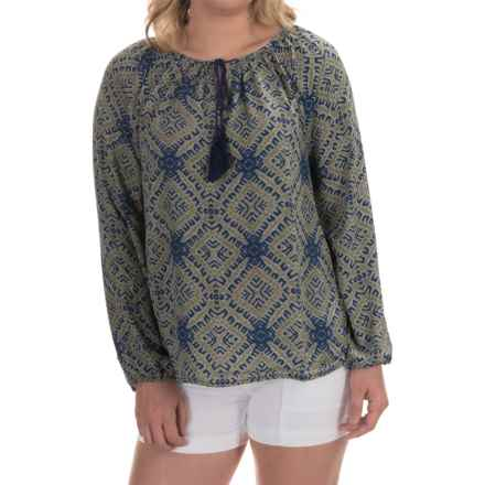Olivaceous Printed Woven Keyhole Blouse - Long Sleeve (For Women) in Green/Blue - Overstock