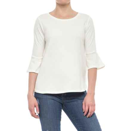 Olive & Oak Bell Sleeve Shirt - Elbow Sleeve (For Women) in White - Closeouts