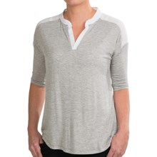 Olive & Oak Chiffon Knit Shirt - Elbow Sleeve (For Women) in Grey/White - Closeouts