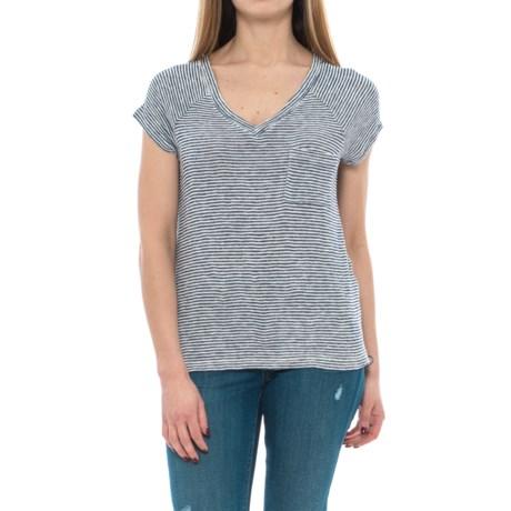 Olive & Oak Double-V Patterned Shirt - Short Sleeve (For Women) in Navy/Ivory