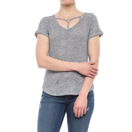 Olive & Oak Flared O-Ring Shirt - Short Sleeve (For Women) in Navy/Ivory