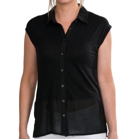 Olive & Oak Knit Sheer Shirt - Chiffon Hem, Button Front, Sleeveless (For Women) in Olive/Black