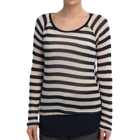 Olive & Oak Lightweight Sweater - Chiffon Hem (For Women) in Navy/Ivory Stripe