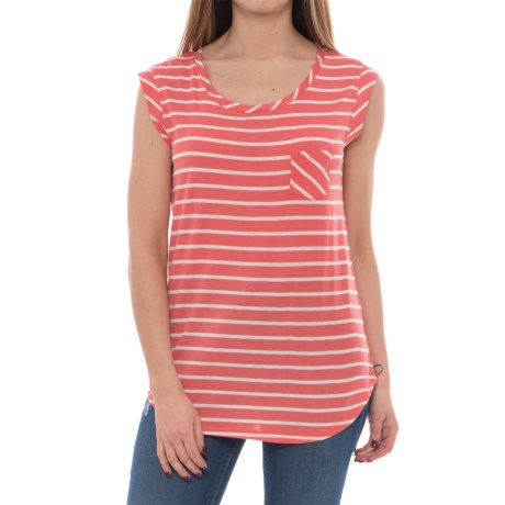 Olive & Oak Loose Fit Striped Shirt - Short Sleeve (For Women) in Heather Oatmeal/Coral