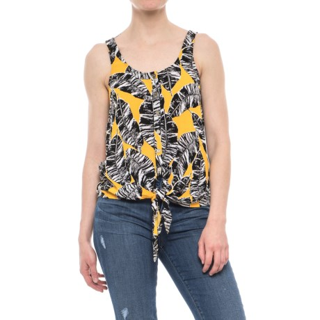 Olive & Oak Patterned Tied Tank Top (For Women) in Yellow Combo