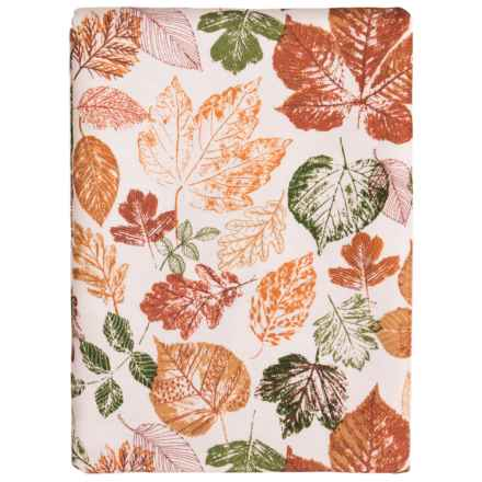 "Olive and Thyme Elegant Leaves Tablecloth - 60x104"" Oblong in Orange Multi - Closeouts"