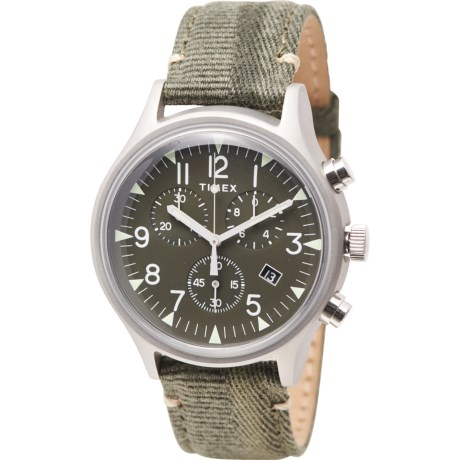 Olive MK1 Stainless Steel Chronograph Watch - 42mm, Fabric Strap (For Men) - STAINLESS STEEL/OLIVE ( )