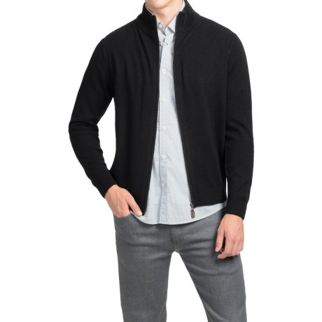 Oliver Perry Cashmere Sweater - Full Zip (For Men) in Black