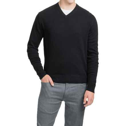 Oliver Perry Cashmere Sweater - V-Neck (For Men) in Black - Closeouts