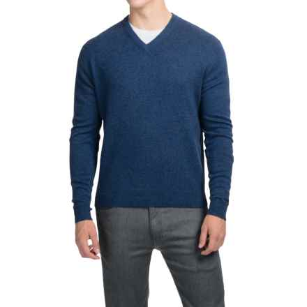 Oliver Perry Cashmere Sweater - V-Neck (For Men) in Dusk Blue Heathr - Closeouts