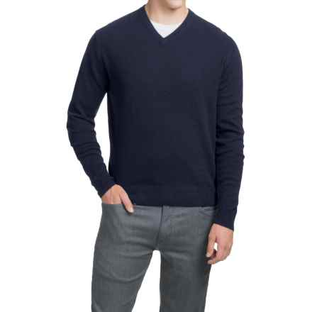 Oliver Perry Cashmere Sweater - V-Neck (For Men) in Navy Night - Closeouts