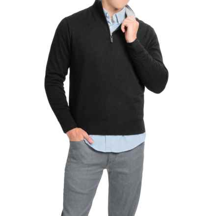 Oliver Perry Cashmere Sweater - Zip Neck (For Men) in Black/Flannel - Closeouts