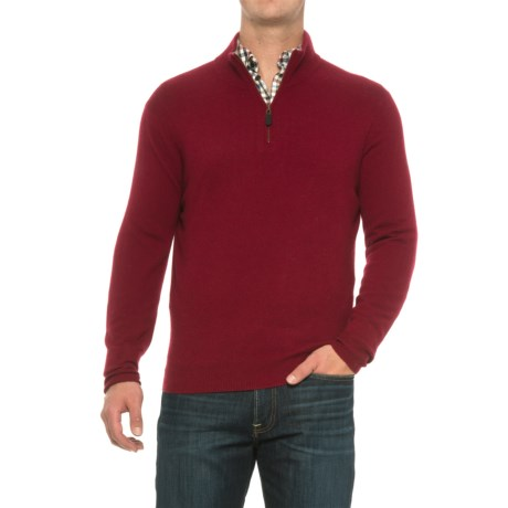 Oliver Perry Cashmere Sweater - Zip Neck (For Men) in Burgundy Red Heather/Flannel
