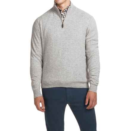Oliver Perry Cashmere Sweater - Zip Neck (For Men) in Flannel/Ash Heather - Closeouts