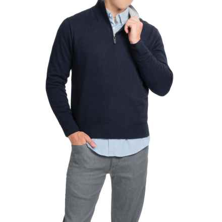 Oliver Perry Cashmere Sweater - Zip Neck (For Men) in Navy Night/Flannel - Closeouts