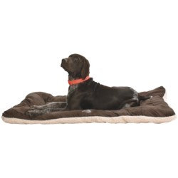OllyDog Berber Fleece-Microsuede Dog Bed - Large, Rectangular in Cream/Dark Brown