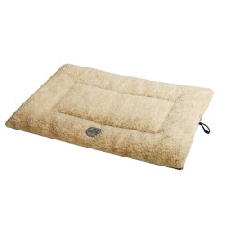 OllyDog Berber Fleece Microsuede Dog Bed - Medium, Rectangular in Cream/Dark Brown