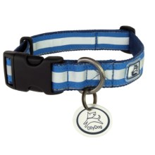 OllyDog Nightlife 2 Dog Collar - Medium in Navy/Blue - Closeouts