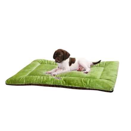 "OllyDog Plush Dog Bed - 20x29"", Medium in Pesto/Chocolate - Overstock"
