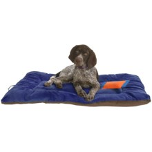 "OllyDog Plush Dog Bed - 22x36"", Large in Blue/Chocolate - Overstock"