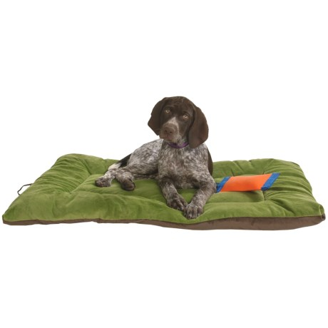"OllyDog Plush Dog Bed - 28x40"", Extra Large in Pesto/Chocolate"