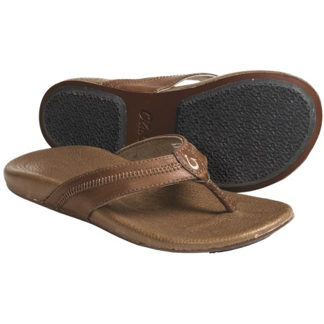 OluKai Haiku Sandals - Leather (For Women) in Java/Toffee