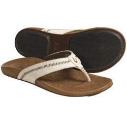 OluKai Haiku Sandals - Leather (For Women) in Off White/Toffee