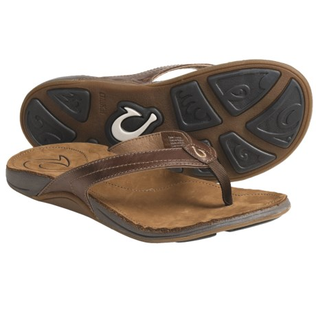 OluKai Kumu Thong Sandals - Leather (For Women) in Java/Summer