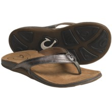 OluKai Kumu Thong Sandals - Leather (For Women) in Pewter/Summer - Closeouts