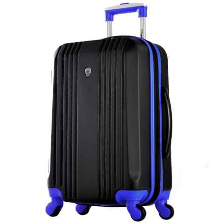 """Olympia Apache II Hardside Carry-On Spinner Suitcase - 21"""", Expandable in Black/Blue - Closeouts"""
