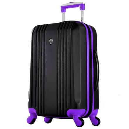 """Olympia Apache II Hardside Carry-On Spinner Suitcase - 21"""", Expandable in Black/Purple - Closeouts"""