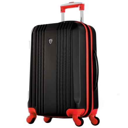 """Olympia Apache II Hardside Carry-On Spinner Suitcase - 21"""", Expandable in Black/Red - Closeouts"""