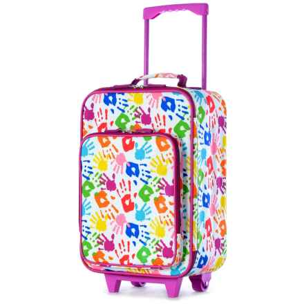 """Olympia Kids Playday Collection Rolling Carry-On Suitcase - 19"""" in Hand Print - Closeouts"""