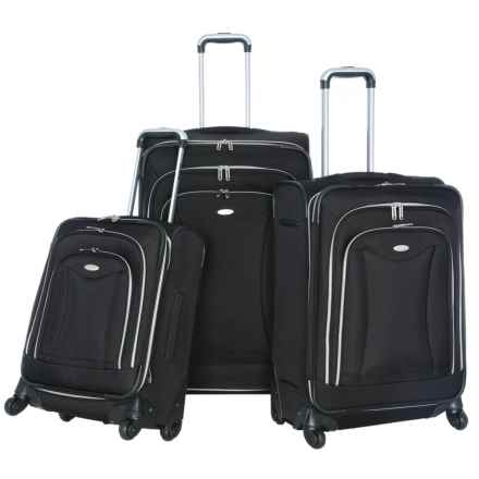Olympia Luxe Expandable Spinner Luggage Set - 3-Piece in Black - Closeouts